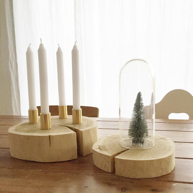 DIY Adventskranz aus Holzscheibe und Hahnverlängerungen