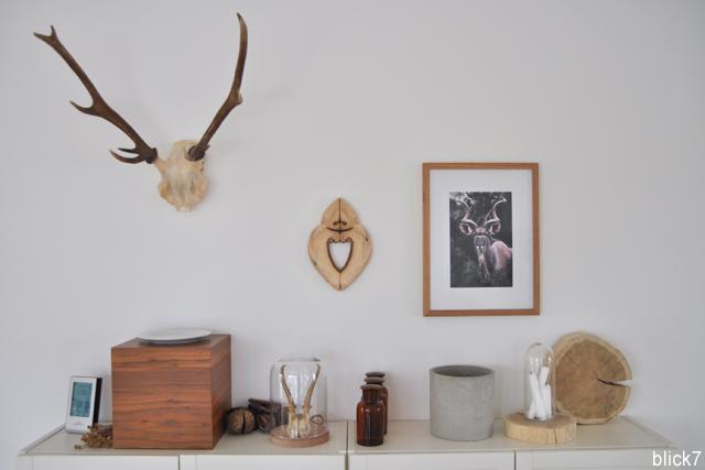 Geweih und Holz an der Wand