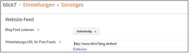 Screenshot von Blogger zur Feed-Weiterleitung