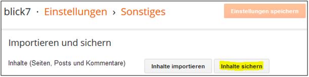 Screenshot von Blogger zum Backup der Inhalte