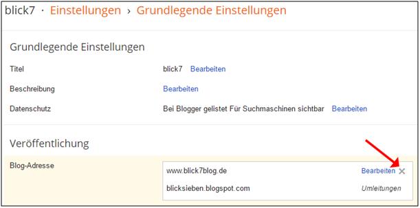 Screenshot von Blogger zum Löschen der benutzerdefinierten Domain