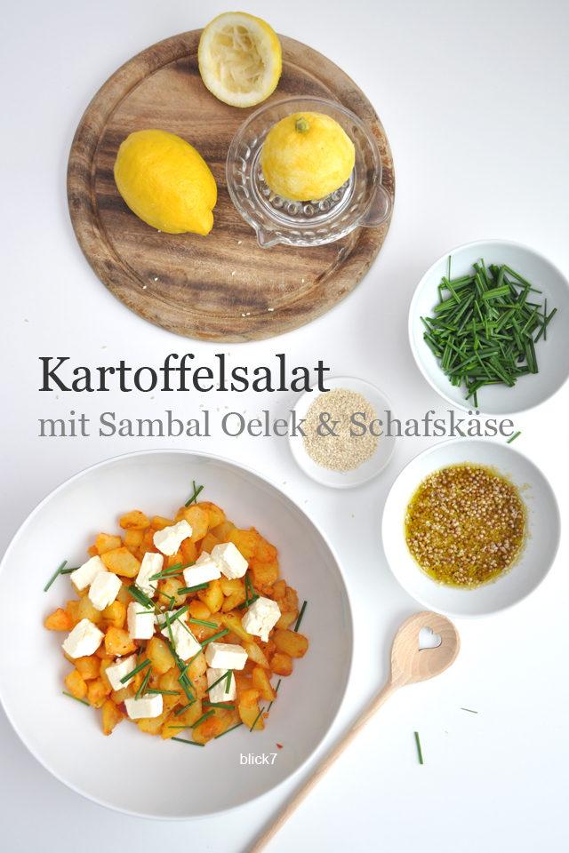 Kartoffelsalat mit Sambal Oelek und Schafskäse