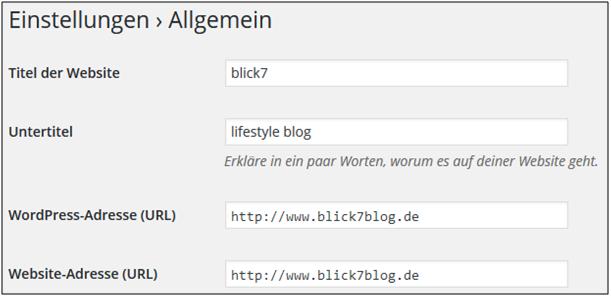 Screenshot von WordPress für die allgemeinen Einstellungen