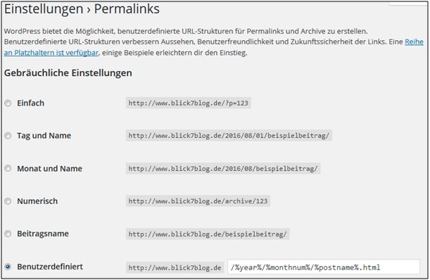 Screenshot von WordPress zur Einstellung der Permalinks
