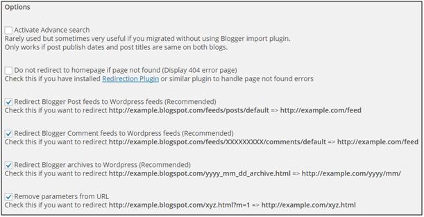 Screenshot des WordPress-Plugins Redirect301 und seiner Einstellungen