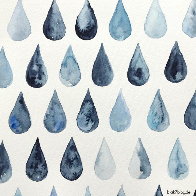 watercolor, aquarell, regentropfen
